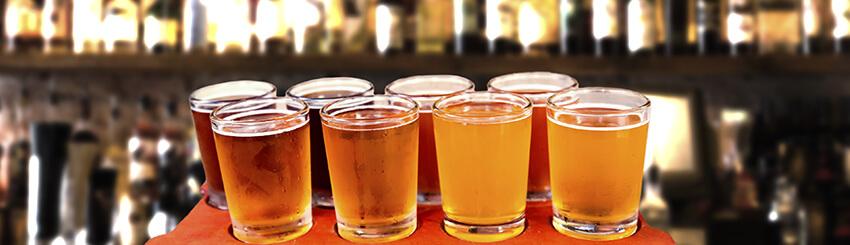 IPA Flight at a Bar Festival Wine and Spirits